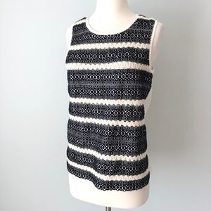 Lucky Brand | Crochet Front Tank Top Cream Black